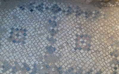 A Byzantine mosaic from the original Church of the Annunciation in Nazareth, found beneath the modern church's courtyard. (courtesy of R. Freund, University of Hartford)
