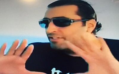 Syrian actor Bassem Yakhour, victim of an Egyptian TV prank, on a yacht as the hoax gets underway (Channel 2 screenshot)victim (Channel 2 screenshot)