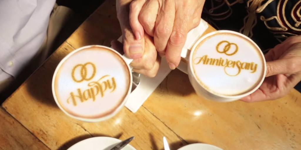 Anniversary greetings printed on cups of coffee by the Ripple Maker (Courtesy)