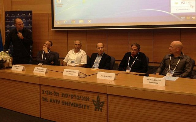 From right: Iron Dome developer Danny Gold; former Shin Bet head Carmi Gillon; R&D head at the Defense Ministry Brig. Gen. (res) Ophir Shoham; Brig. Gen. (res) Pinchas Buchris; Brig. Gen. (res) Yair Cohen; and moderator Or Heller (Mitch Ginsburg/Times of Israel)