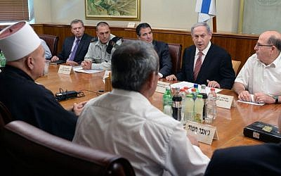 Prime Minister Benjamin Netanyahu meeting leaders of the Druze community in Jerusalem on Wednesday, June 24, 2015. (Kobi Gidon/GPO)