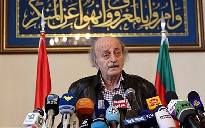 Walid Jumblatt, the political leader of Lebanon's Druze minority, speaks during a press conference after meeting Druze religious leadership in Beirut, Lebanon on June 12, 2015. (AP/Bilal Hussein)