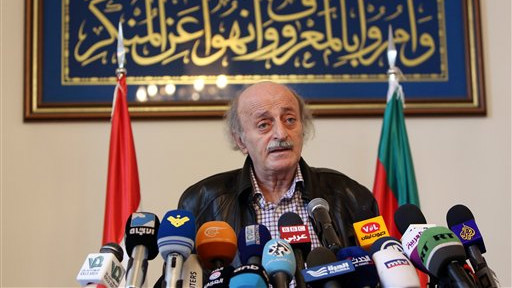 Walid Jumblatt, the political leader of Lebanon's minority Druze sect, speaks during a press conference after a meeting of the Druze community's religious leadership in Beirut, Lebanon, Friday, June 12, 2015. (AP/Bilal Hussein)