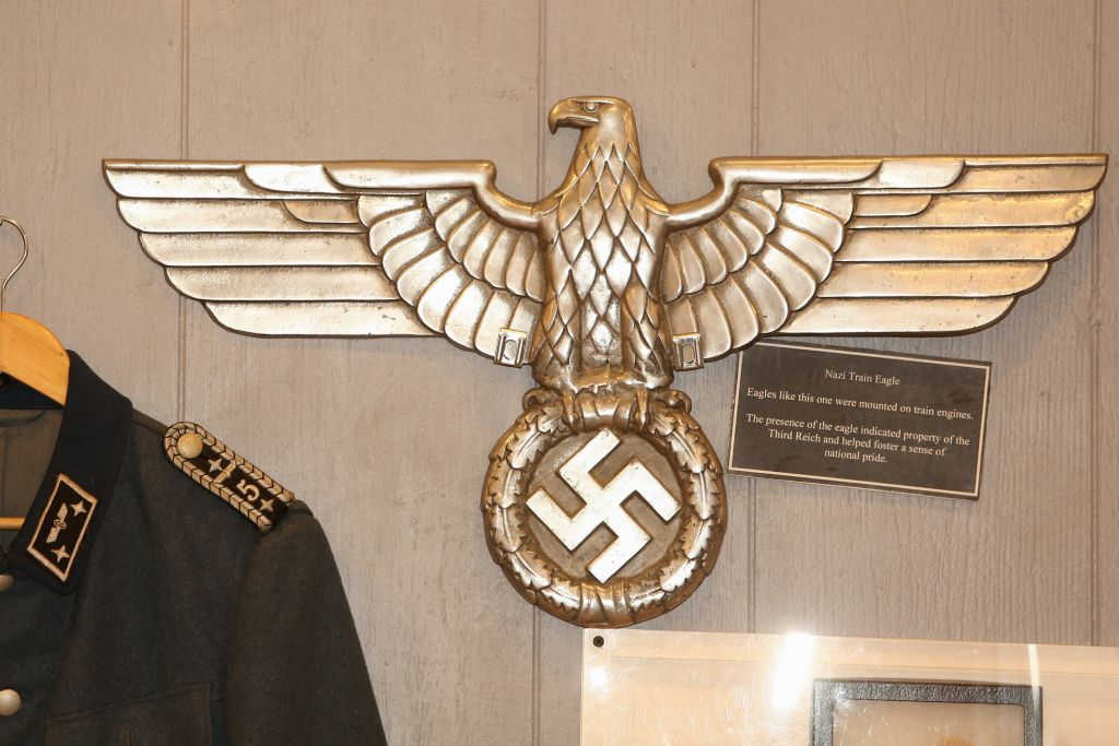 Nazi-related items from the collection of Massachusetts-based collector Darrell English, whose New England Holocaust Institute & Museum is seeking a permanent home, on April 10, 2015. (photo credit: Elan Kawesch/The Times of Israel)