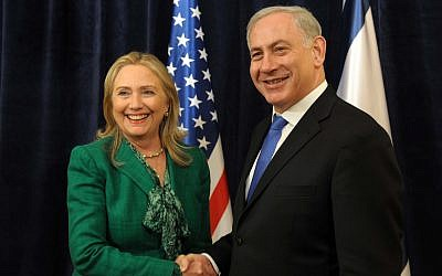 Prime Minister Benjamin Netanyahu meets with US Secretary of State Hillary Clinton in Netanyahu's office in Jerusalem in 2012. (photo credit: Ohad Zwigenberg /POOL/Flash90)