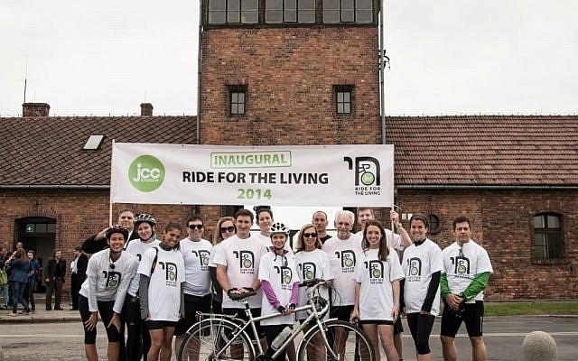 First annual Ride for the Living participants at starting line at Auschwitz, June 2014. (Jakub Włodek )