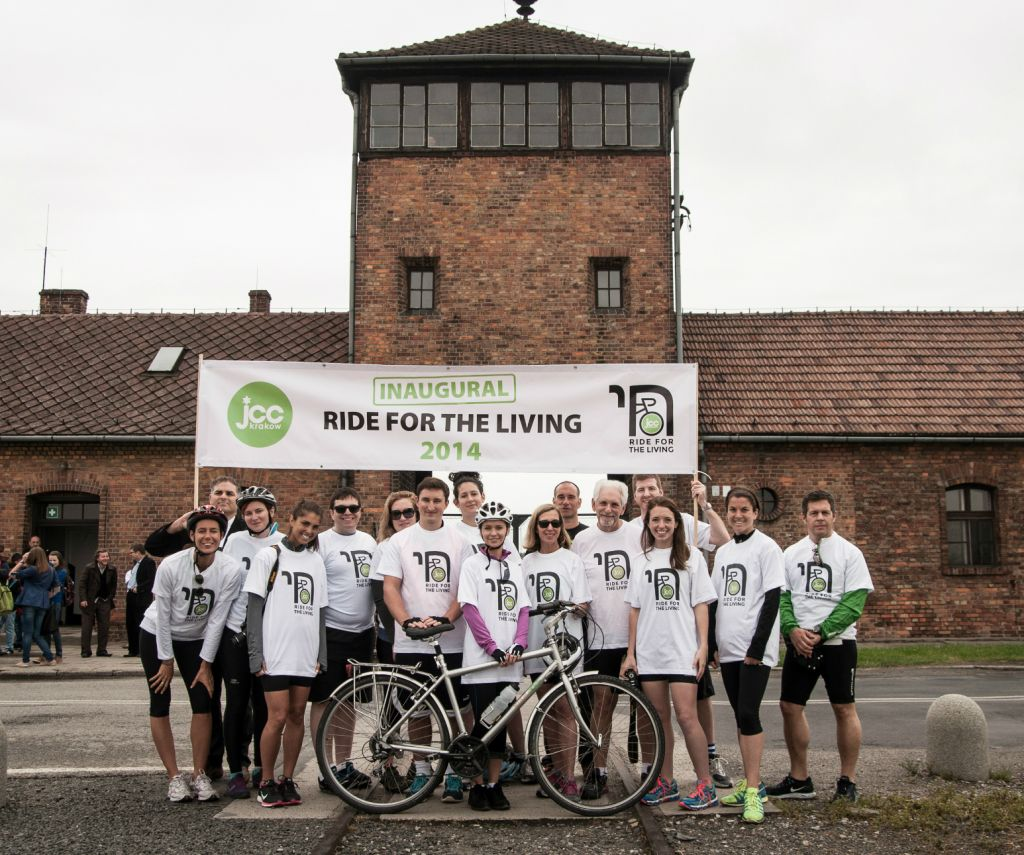 First annual Ride for the Living participants at starting line at  Auschwitz 530c6348c