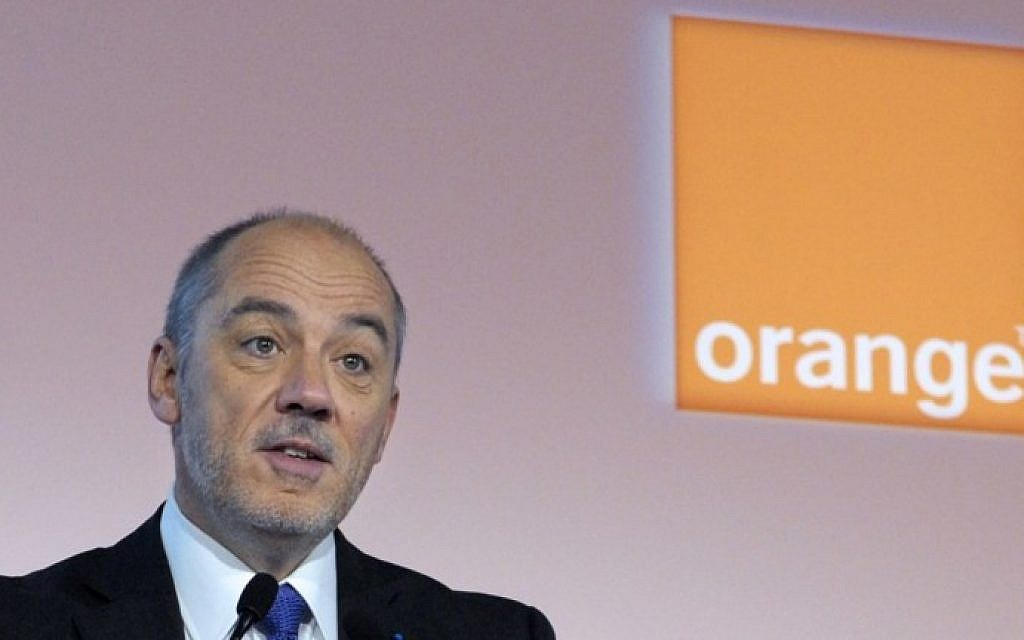 A file picture taken in Paris on February 17, 2014, shows French telecom operator Orange CEO Stephane Richard (Eric Piermont/AFP)