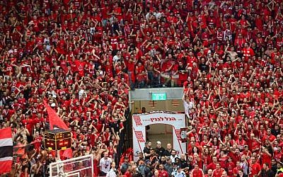 A sea of red as Hapoel fans celebrate the team's first championship win (Courtesy Hapoel Jerusalem)