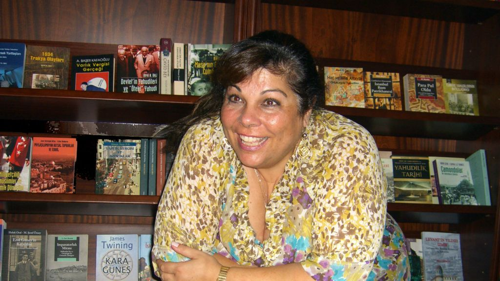 Karen Sarhon at the offices of Al Amaneser in 2013. (Courtesy of Karen Sarhon/via JTA)