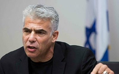 Yesh Atid chairman Yair Lapid speaks at a party meeting at the Knesset on June 1, 2015. (Yonatan Sindel/Flash90)