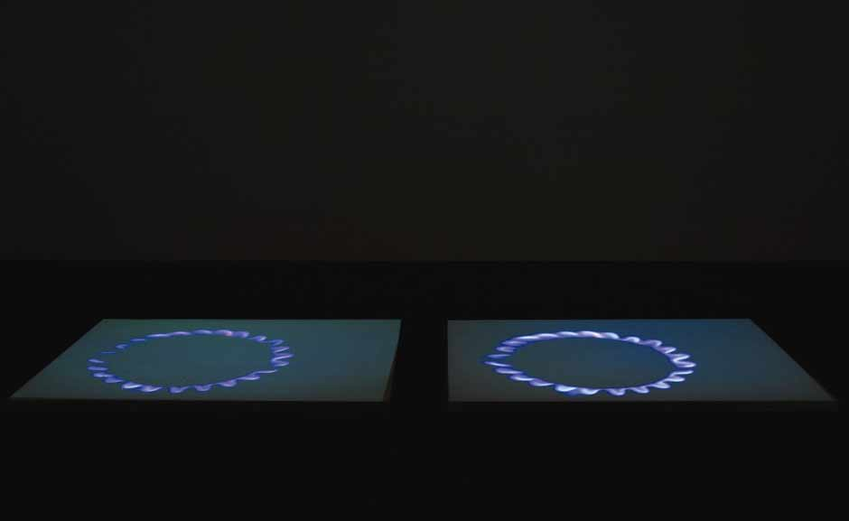 Miroslaw Balka, born Poland 1958, Blue Gas Eyes, 2004, Video projection, salt, steel, MDF (Courtesy Gladstone Gallery, New York and Brussels Copyright for image:  Miroslaw Balka)