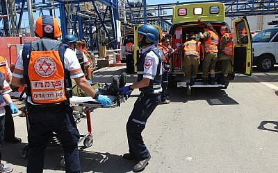 Illustrative of Magen David Adom paramedics during Turning Point 15, a large-scale Home Front drill held in Israel in June 2015. (Magen David Adom)
