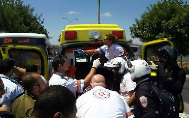 Emergency personnel at the scene of a stabbing attack in Jerusalem on June 29, 2015.  (Magen David Adom)