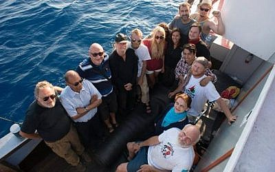 Pro-Palestinian activists aboard the Marianne as it makes its way toward the Gaza Strip, Sunday June 28, 2015. (Freedom Flotilla III)