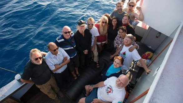 Pro-Palestinian activists aboard the Marianne, Sunday June 28, 2015. (Freedom Flotilla III)