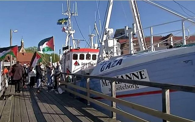 The Marianne of Gothenburg, a Swedish-flagged trawler leading a flotilla of boats sailing for the Gaza Strip, June 2015. (YouTube/Ship to Gaza Sweden)