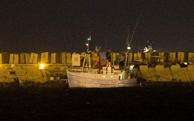 The Marianne arrives in the port of Ashdod, late on June 29, 2015. (Yonatan Sindel/Flash90)