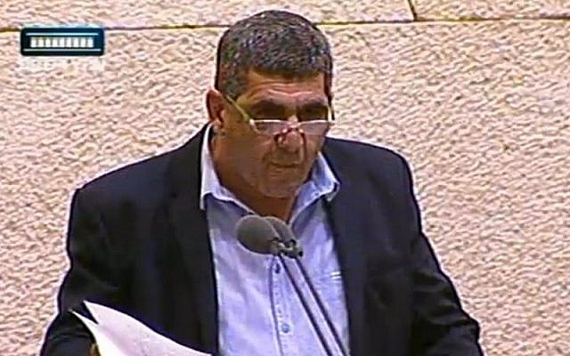 Likud lawmaker Yaron Mazuz in the Knesset, June 24, 2015 (screen capture: Channel 2)