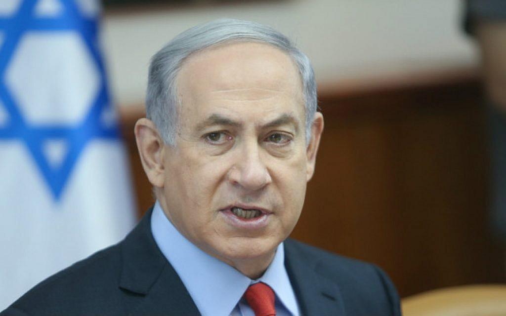 Prime Minister Benjamin Netanyahu at the weekly cabinet meeting in Jerusalem, June 28, 2015. (Flash90/Alex Kolomoisky)