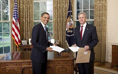 President Barack Obama welcomes Ambassador Michael B. Oren of the State of Israel to the White House Monday, July 20, 2009, during the credentials ceremony for newly appointed ambassadors to the United States (White House photo)