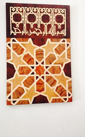 xx's inlaid wood panels, ensconced in their own prayer corner (Jessica Steinberg/Times of Israel)