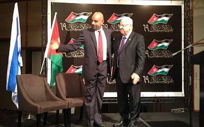 President Reuven Rivlin (right) and Jordan's Ambassador to Israel Walid Obeidat, June 16, 2015 (Raphael Ahren/Times of Israel)