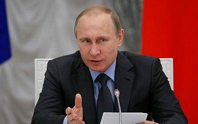 File: Russian President Vladimir Putin speaks at the Kremlin in Moscow, Russia, June 24, 2015. (AP/Sergei Karpukhin, Pool)