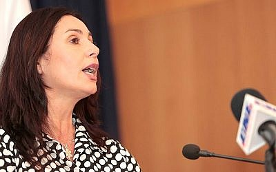 Minister of Culture and Sport Miri Regev speaks at the ministry on the day of her appointment, May 17, 2015. (Yonatan Sindel/Flash90)