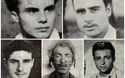 Five of the seven (clockwise from top left): Kalman Salonikov, Simcha Cohen, Nissim Laub, Shimon Balas and Mordechai Cohen. (Israel Ministry of Defense/via JTA)