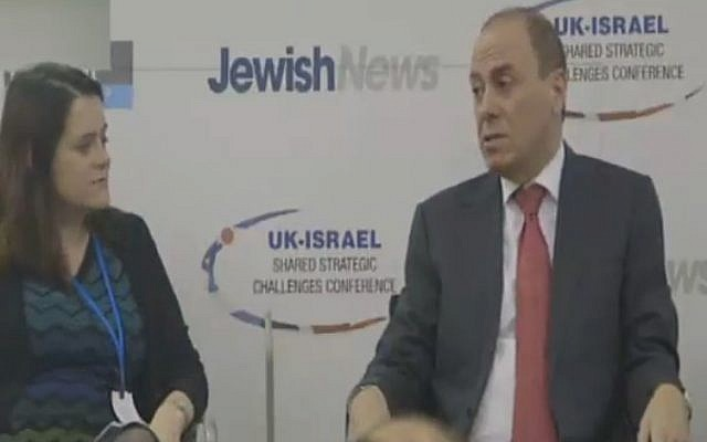 Interior Minister Silvan Shalom in London on June 22, 2015 (screen capture: Channel 2)