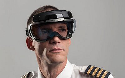A pilot wears an Elbit Skylens system (Courtesy)