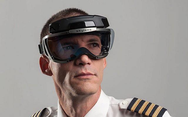 A pilot wears an Elbit Skylens system (Courtesy)
