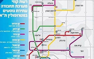 Map of Tel Aviv's future subway/light rail system (Photo credit: Courtesy)