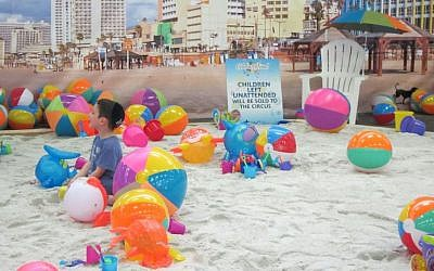 Part of Pier 94 was turned into a Tel Aviv Beach for the afternoon to mark the 51st annual Celebrate Israel Parade, May 31, 2015. (Cathryn J. Prince)