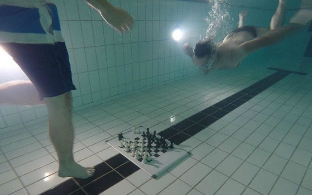 Diving Chess is a real thing and was invented by Israeli chess master Etan Ilfeld. (courtesy JW3)