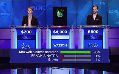 IBM's Watson competes on US TV show Jeopardy, January 11, 2013 (Photo credit: Courtesy IBM)