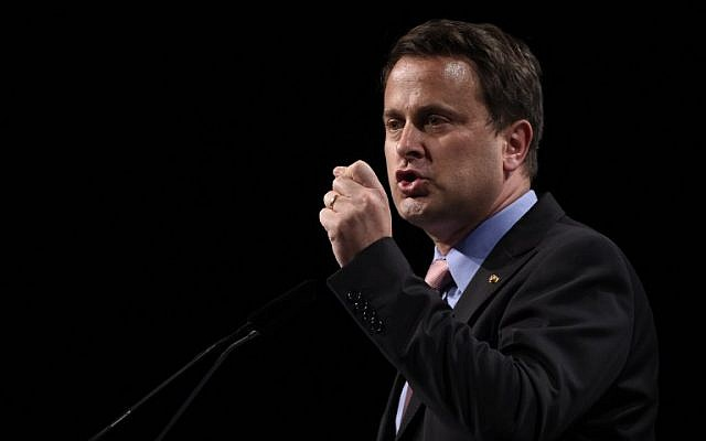 Luxembourg Prime Minister Xavier Bettel gives a speech on June 3, 2015, during talks as part of the two-day European Development Days event, held on June 3-4 in Brussels. (AFP photo/John Thys)
