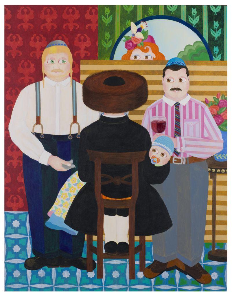 'Circumcision,' 2014, oil on acrylic on canvas (Photo credit: Ron Arda)