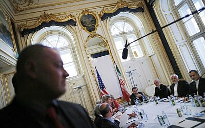 Officials from the US and Iran during nuclear negotiations in Vienna, Austria, on July 3, 2015. (AFP/Carlos Barria/Pool)