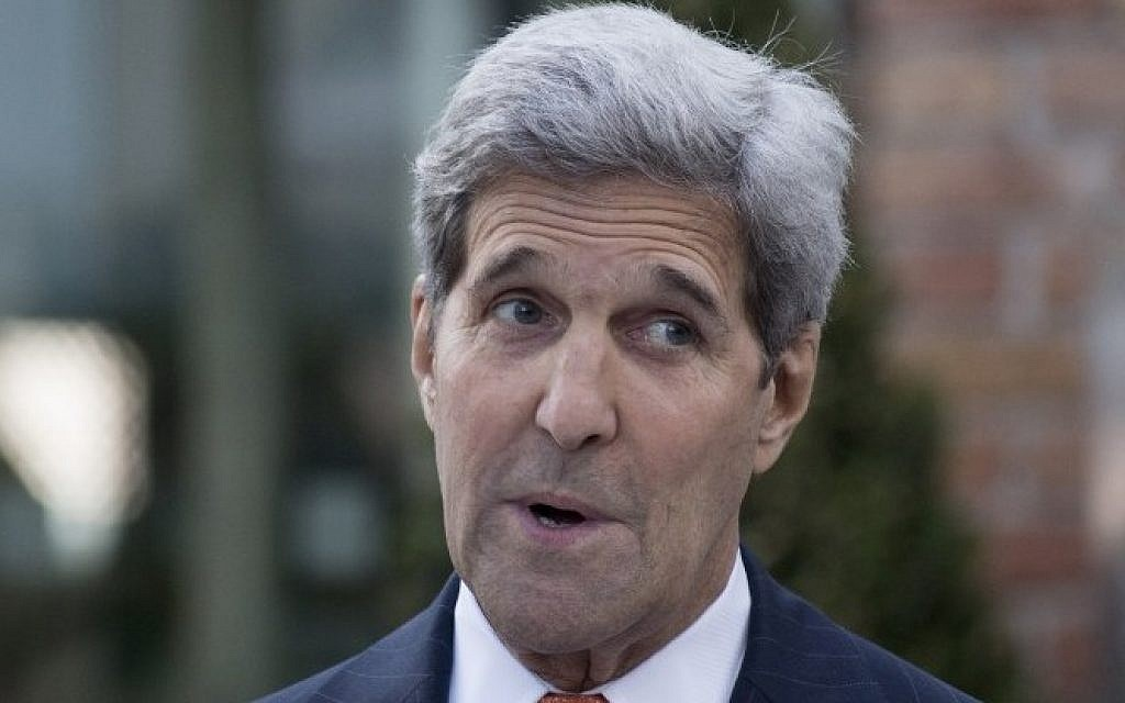 US State Secretary John Kerry addresses a press conference of the Palais Coburg Hotel where the Iran nuclear talks meetings are being held in Vienna, Austria on July 9, 2015. (AFP/JOE KLAMAR)