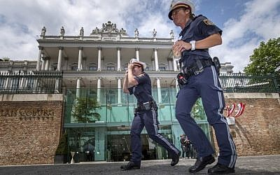 Illustrative photo of Austrian police officers in Vienna, Austria on July 13, 2015. (Joe Klamar/AFP)