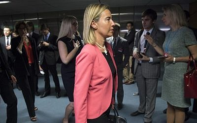 File: Federica Mogherini, High Representative of the European Union for Foreign Affairs and Security Policy arrives for the last plenary session at the United Nations building in Vienna, Austria July 14, 2015. (Joe Klamar/AFP)