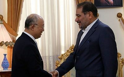 Iranian Secretary of the Supreme National Security Council, Ali Shamkhani, right, shakes hands with the head of the UN's atomic watchdog Yukiya Amano during a meeting in Tehran on July 02, 2015. (AFP/ATTA KENARE)