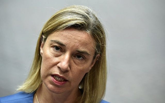 EU Foreign Policy Chief Federica Mogherini speaks to journalists at the European Union headquarters in Brussels, Belgium, July 20, 2015. (AFP/John Thys)
