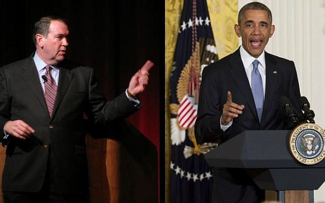 Illustrative photos of US President Barack Obama (right) and Republican presidential candidate Mike Huckabee. (Huckabee - HollandHoodie/Flickr/CC BY-ND 2.0; Obama - AFP/Saul Loeb)