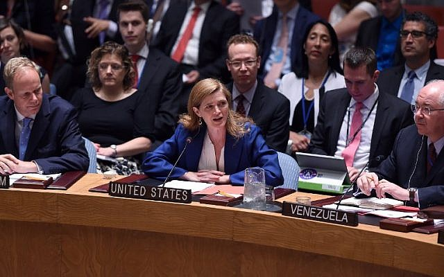 US Ambassador to the United Nations Samantha Power speaks after Security Council members voted on the Iran resolution at the UN headquarters in New York on July 20, 2015. (AFP/JEWEL SAMAD)