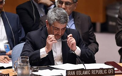 Iran's envoy to the UN Gholamali Khoshroo speaks during a Security Council meeting after a vote on the Iran resolution at UN headquarters in New York, July 20, 2015. (AFP/Jewel Samad)