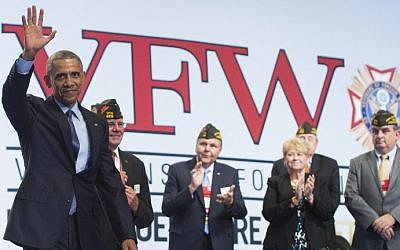 US President Barack Obama arrives to speak at the 116th National Convention of the Veterans of Foreign Wars (VFW) at the David Lawrence Convention Center in Pittsburgh, Pennsylvania on July 21, 2015. (Saul Loeb/AFP)
