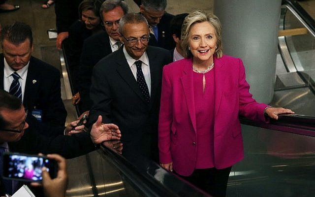 Hillary Clinton rides an escalator between meetings at the US Capitol July 14, 2015 on Capitol Hill in Washington, DC. (Mark Wilson/Getty Images/AFP)